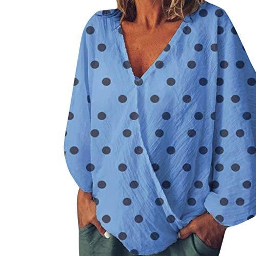 Für Laterne Kostüm Verkauf Blaue - CANDLLY Damen T-Shirt, Punkt Drucken Halbe Hülse Frauen Oberteile Damen Bluse Sommer Top Kreuz V-Ausschnitt Laterne Hülse Übergröße Hemd Mode Wild Lose Tunika Pullover(Blau,S
