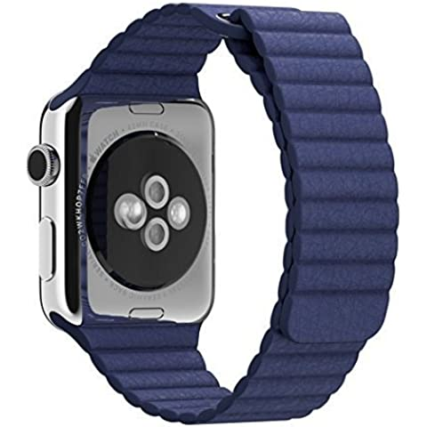 Hotgo Apple Cinturino Orologio , Loop in Vera Pelle con Magnete Lock Strap Ricambio Fascia del Braccialetto Della Cinghia di Polso Intelligente Cinturini Orologi per Apple Watch tutti i modelli No Fibbia Necessario (42 mm, in Pelle Loop - Blu)
