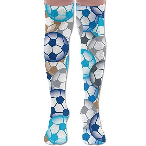 xcvgcxcvasda Over Knee Long High Socks Blue Soccer Balls Extra Long Athletic Sport Tube Stockings for Man Women One Size -