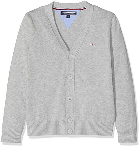 Tommy Hilfiger Jungen Boys Basic V-Neck Cardigan Pullover, Grau (Grey Heather 004), 110 (Herstellergröße: 5)