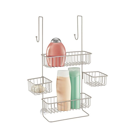mDesign Over Door Shower Caddy - Toiletry Storage Shelves - Hanging Bathroom Organiser for Shampoo, Conditioner, Soap - Satin