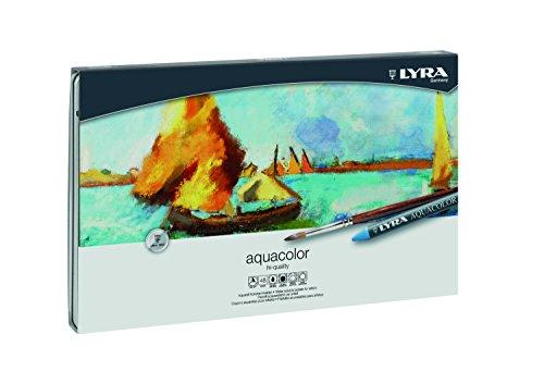 Lyra 5611480 - Aquacolor Wachsmalkreide, Metalletui 48 sortierte Farben