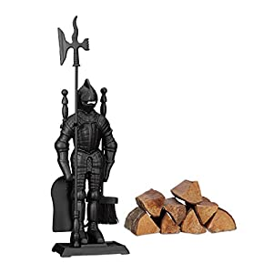 Relaxdays Modern Cast Fire Irons Knight, 4-Piece Fireplace Companion Set with Shovel, Broom, Poker and Rack, Black, 72 x 21 x 12.5 cm
