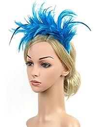 dressfan Colorato Piuma Fascia Fascia da sposa Piuma Cappello Prestazione  Fascia per capelli Donna Ragazza Prestazione Copricapo… 1db2546d4fa4