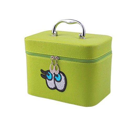 Big Eyes Kosmetiktasche Travel Wash Tasche Lady Fashion Make-up-Box Hit Farbe Pailletten Mädchen 'cosmetic Box Best Geschenk für Freundin grün grün (Handtasche Zierliche)