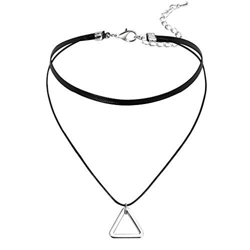 Gnzoe Donna Choker Girocollo Collane Adjutable, Raddoppiare Catena Pelle Triangolo Forma Pendente Gotico Collare Argento Nero, 32.5+8.5 CM
