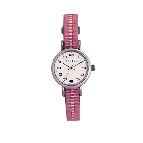 tokyobay-t394-gr-banda-de-nylon-de-dos-tonos-esfera-blanca-de-acero-inoxidable-de-la-mujer-reloj-int