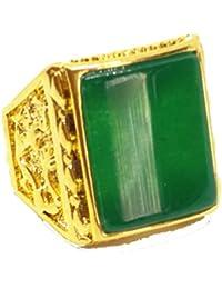 Gran superficie NATURAL verde Jade oro banda anillo Joyas Regalo