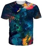 uideazone Herren T-Shirts 3D Muster Kurzen Ärmels Kurzarm Shirt Sport Fitness T-Shirt Rundhalsausschnitt Lässige Graphics Tees (Galaxy-a9, XL)