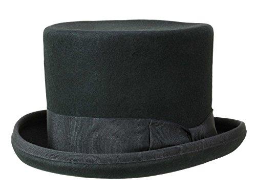 Erwachsene Wollfilz Für Hut (Guerra Top Hat Wollfilz Zylinder 14cm Filzhut - schwarz)