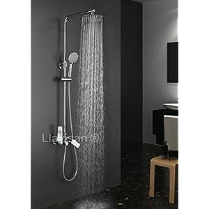 Columna de ducha monomando redonda modelo DUA con repisa integrada, tubo redondo extensible regulable en altura de 80 a 120 cm. Ducha mano para hidromasaje y rociador redondos. Recambios garantizados