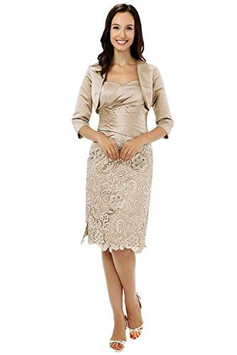 Albrose breve Satin abito formale Madre della Sposa Prom dresses Champagne 46