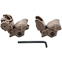 Sniper MFLRS02-T Tan Tactical Smart Polymer Picatinny/Weaver Front and Rear Combo Set Flip Up Backup AR15 AR-15 M16 M4 M-4 Flattop A1 A2 Post Back Up Sight