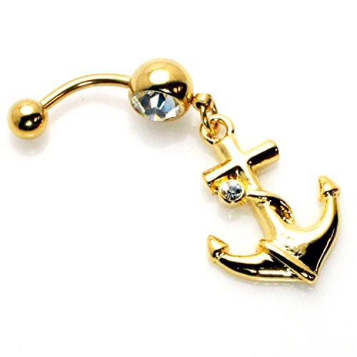 14g (1,6 mm) Vergoldet Anker Edelstahl baumeln Belly Ring Bauchnabel Piercing - 14 - Anker Bauchnabel-ringe