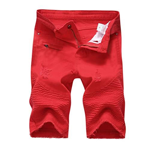 Xmiral Shorts Uomo Moda Jeans Corti Strappati Casual con Foro Estivo Cerniera Cerniera Jeans Dritti Stile Vintage Denim Attillato (31,2- Rosso)