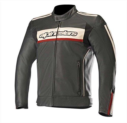 Alpinestars Motorradjacken Dyno V2 Leather Jacket Black Stone Red, Schwarz/Weiss/Rot, 54