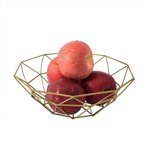 Aolvo Draht-Korb, mit Geometrie, Einfache Metall-Korb Snack-Schale für Wohnzimmer, Home Gold -