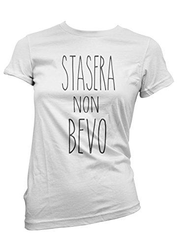 T-shirt Donna Stasera non bevo - maglietta ironic 100% cotone LaMAGLIERIA Bianco