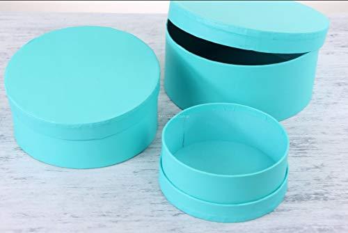 Tiffany Set (VIPOLIMEX 3er Set runde Blumenboxen, Aufbewahrungsbox mit Deckel, Geschenkboxen, personalisierbar (Tiffany-Farbe))