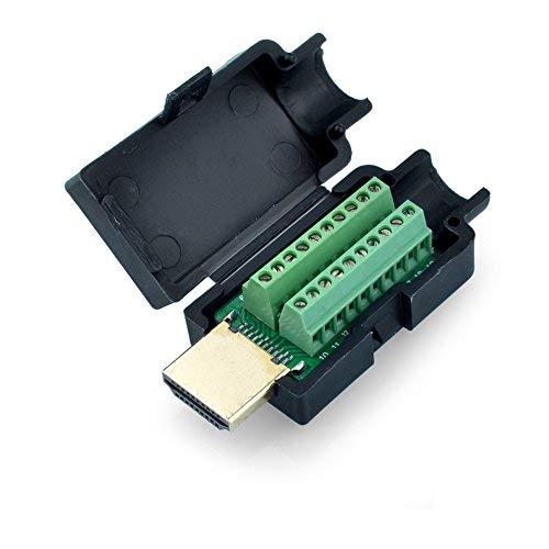 S SIENOC HDMI 19Pin Stecker zu Terminal Block Breakout Stecker DIY Stecker mit schwarz Abdeckung -