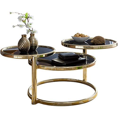FineBuy Couchtisch SINA mit 3 Tischplatten Schwarz/Gold 58 x 43 x 58 cm   Beistelltisch Rund   Design Wohnzimmertisch Glas/Metall   Designer Glastisch Sofatisch modern   Kleiner Loungetisch (Couchtisch Aus Glas Schwarz)