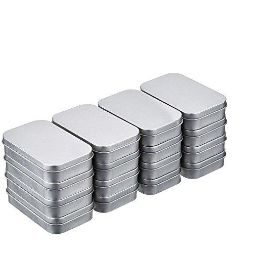 16pcs(88*60*18mm) Latas Metal de Bisagra Caja Contenedor Almacenamiento Rectangular Color Plateado Mini Estuche Kit de Almacenaje Pequeño Organizador