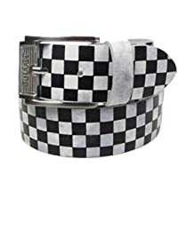 38mm Checker Print Colourful Mens Womens Belt Real Leather Handmade In England