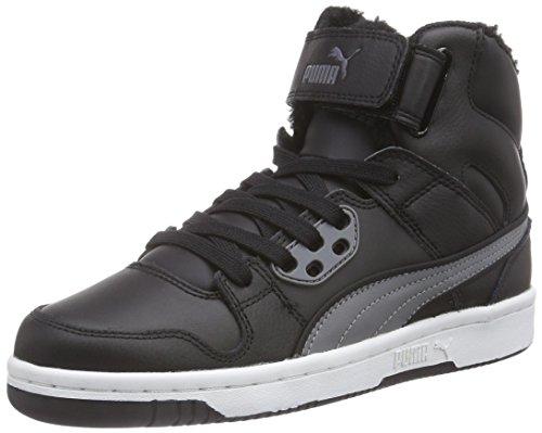 Puma Puma Rebound Street Fur, Baskets hautes mixte adulte Noir - Schwarz (black-steel gray 02)