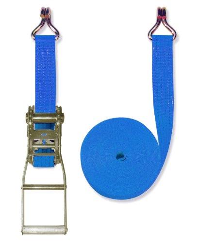 Braun Spanngurt 4000 daN, zweiteilig, Farbe blau, 8 m Länge, 50 mm Bandbreite, mit Langhebel-Ratsche und Spitzhaken