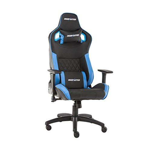 Deerhunter gaming sedia, sedia da ufficio in pelle, schienale alto ergonomico racing sedia, sedia girevole da scrivania per computer con poggiatesta regolabile e supporto lombare blue