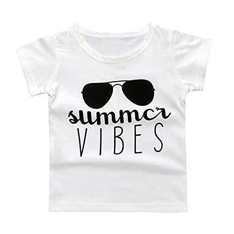 Longra Fille de Bébé Manche Courte Lettre d'Impression T-shirt à manches longues Vêtements (100, Blanc)