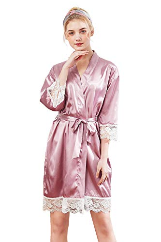 MisShow Damen kurz Bademantel Nachtwäsche Schlafanzug Robe Satin Kurze Robe Negligee Frauen Bademantel Sommer mit Gürtel Lila M -