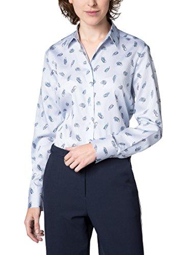 Eterna Chemisier Pour les Femmes de Grande Taille à Manches Longues Modern Classic Imprimé bleu clair/blanc