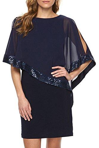 YMING Damen Chiffon Kleid Sommerkleid Bleistiftkleid Elegante Fifurbetontes Kleid Übergröße,Blau,XXL / DE 44-46 (Zebra-kleid Lila)