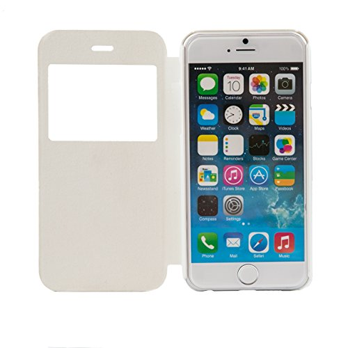 """iProtect Apple iPhone 6 (4,7"""") Hülle im schlanken Bookstyle mit Sichtfenster und transparenter Rückseite schwarz Bookstyle Fenster Weiß"""