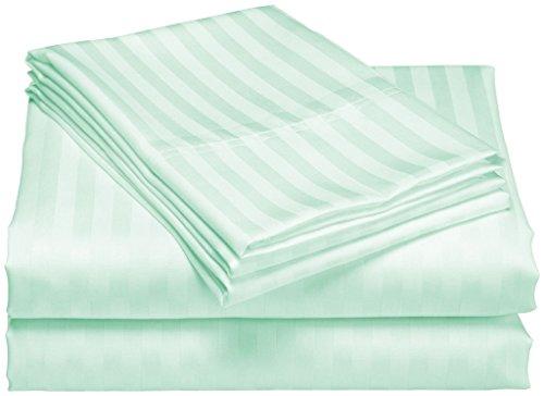 SCALABEDDING 100% ägyptische Baumwolle, 6-teilig) 400 TC 25-Zoll-tiefe Tasche Blatt-Satz-Cal King Aqua gestreift - Aqua-blatt-satz