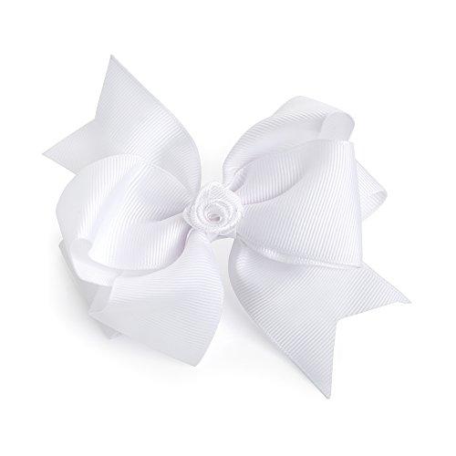 Grand nœud à cheveux blanc en gros-grain avec ornement floral central sur clip (12 cm)