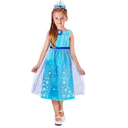 (CQY Gefrorene Anzieh-Kleidung für kleine Mädchen ELSA Schneekönigin Anna Prinzessin Kostüme Geburtstagsfeier Kostüm Schneewittchen 3-8Years Halloween-Kostüm,L)