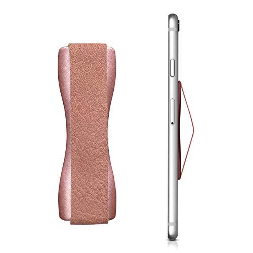 kwmobile Agarre de Cuero sintético para móvil - Cinta de sujeción para móvil de Piel sintética - Correa Adhesiva para Sujetar Smartphone