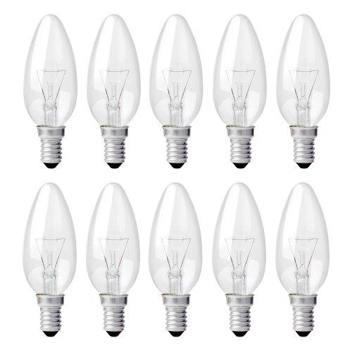 10 x Glühbirne Kerze 15W E14 klar Glühlampe Glühlampen Glühkerzen 15 Watt warmweiß dimmbar - 15w Glühlampe