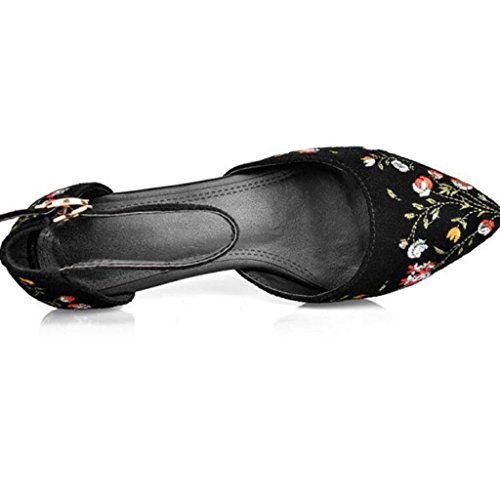 W&LM Pelle di signore sandali ricamato mancia aria fibbia Tacchi alti scarpa Black