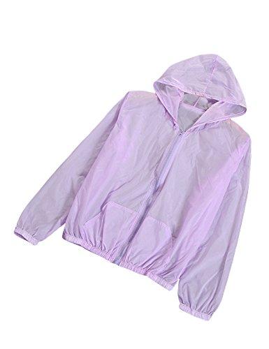 Letuwj Damen Sommer Anti-UV Sonnenschutz Jacke Schnelltrocknend Ultraleicht Ultra dünn Outwear Lila Einheitsgröße (Lila Jacke)