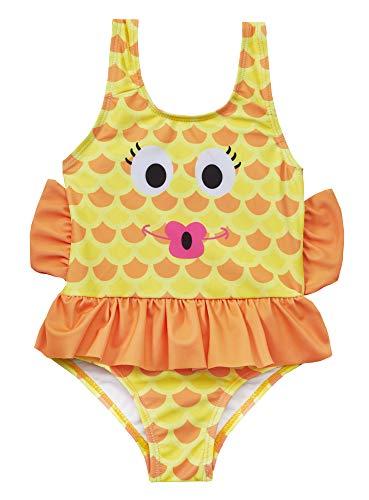 Sparkle Club Mädchen Kinder Badeanzug Fisch Gelb/Orange Gr. 3-4 Jahre, Orange