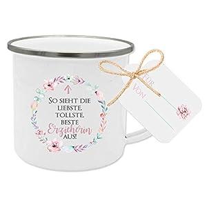 Geschenk für Erzieherin, Dankeschön Tasse mit Anhänger und Spruch: So sieht die liebste, tollste, beste Erzieherin aus