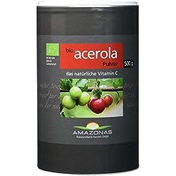 Amazonas Bio Acerola Pulver, 500 g, Qualität durch langjährige Erfahrung, nur 2 g Pulver liefern 340 mg natürliches Vitamin C, ohne synthetische Zusätze, Direktimport aus dem Amazonasgebiet.