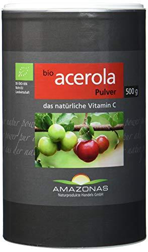 Amazonas Bio Acerola Pulver, 500 g, Qualität durch langjährige Erfahrung, nur 2 g Pulver liefern 340 mg natürliches Vitamin C, ohne synthetische Zusätze, Direktimport aus dem Amazonasgebiet. -