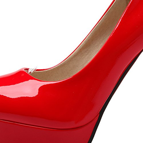 AgooLar Femme Pu Cuir Couleur Unie Boucle Rond Stylet Chaussures Légeres Rouge