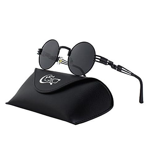 CGID Retro Sonnenbrille im Steampunk Stil, runder Metallrahmen, polarisiert, für