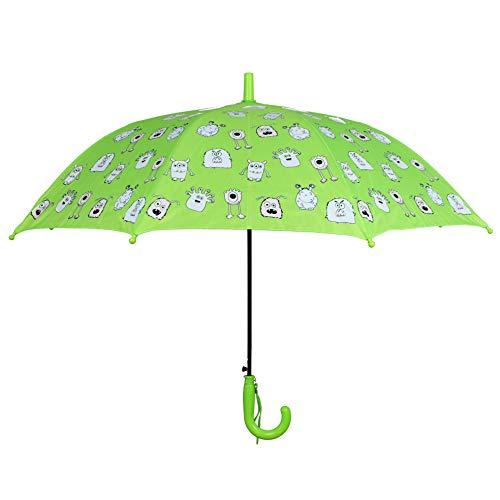 accessu® Farbwechsel Regenschirm Clolour Changing Schirm Bunt Muster Monster (Green)