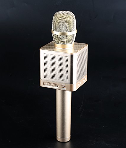 Wireless Microphone,Karaoke Microphone,With Bluetooth Speaker,Original Singing and Accompaniment Switch,Treble Bass Volume and Surround Effect Adjustment,Auto Switch Songs,Can Connect External Speaker Apple 3 Button Mic